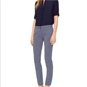 Tory Burch Printed Slim Dress Pants Blue Size 4